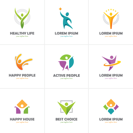 Set of abstract colorful people icon isolated on white background. Human logo.