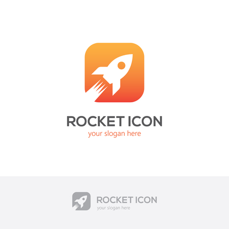 Icône de la roquette carrée. Logo de démarrage d'entreprise. Banque d'images - 80112206