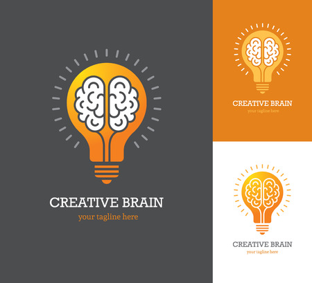 Bright logo with linear brain icon inside a light bulb. Symbol of creative idea, mind, thinking. Illustration