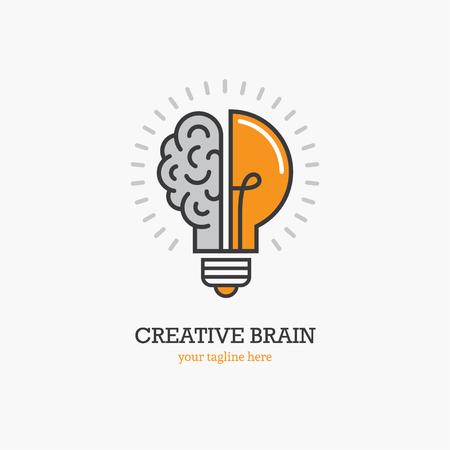 Embleem met de helft van gloeilamp en hersenen op witte achtergrond worden geïsoleerd die. Symbool van creativiteit, creatief idee, geest, denken.