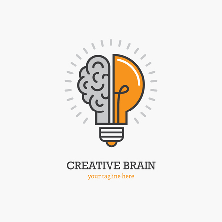 Logo con una metà della lampadina e del cervello isolato su sfondo bianco. Simbolo di creatività, idea creativa, mente, pensiero.