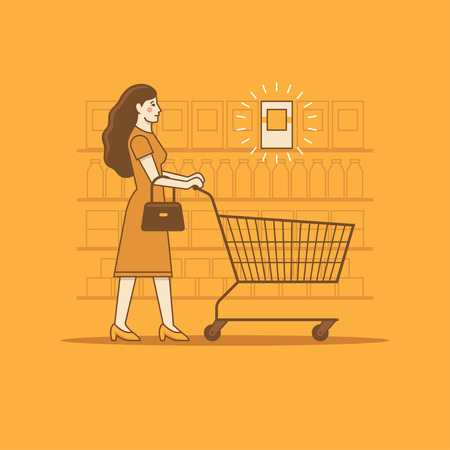 Woman with shopping cart in a grocery store or supermarket looking for a product on sale or low price, healthy or high quality food. Linear illustration.