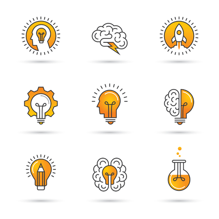 Icons set with brain, light bulb, human head. Creative idea, mind, nonstandard thinking logo. Isolated on white background Stock Illustratie
