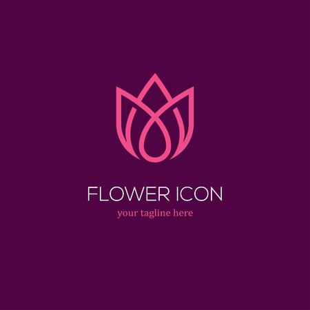 抽象的な線形チューリップ アイコン。花芽のシンボル。美容、ウェルネス サロン、化粧品やブティックのロゴ。