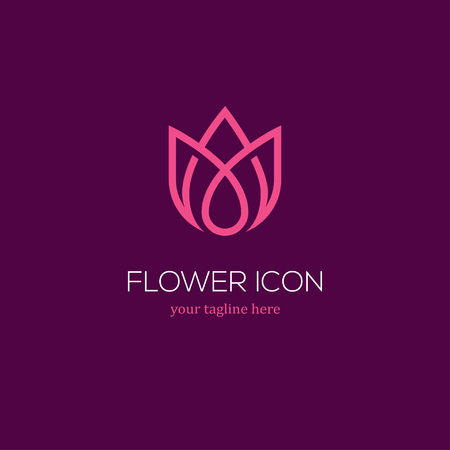 Abstract linear tulip icon. Flower bud symbol. Beauty, spa salon, cosmetics or boutique logo. 일러스트