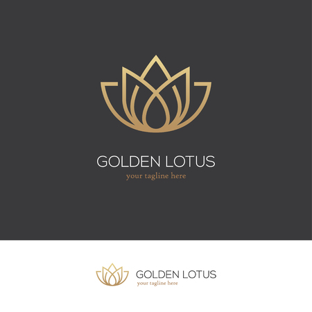 Linear lotus icon. Yoga center, spa, beauty salon luxury logo. Golden flower symbol.