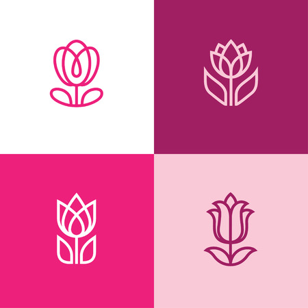 Set of four abstract linear flower icons. Tulip logo.