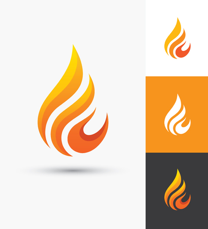Flame icon in a shape of droplet. Fire symbol. Water drop silhouette. Oil and gas industry elegant logo template. Vettoriali