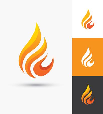 Icono de llama en forma de gotita. Símbolo del fuego. Silueta de la gota del agua. Plantilla elegante de la insignia de la industria del petróleo y del gas.