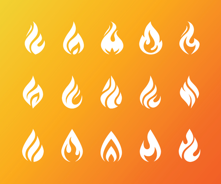 Set of white flame icons. Hot fire burn, torch, bonfire symbol. Water drop shape. Oil and gas industry logo isolated on bright orange background. Vectores