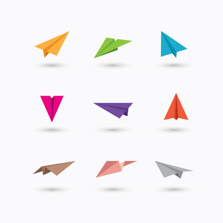 Set of colorful paper plane icons isolated on white background. Illustration