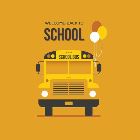 Vue avant du bus scolaire avec trois ballons sur un fond orange vif. Bannière créative ou design d'affiche.