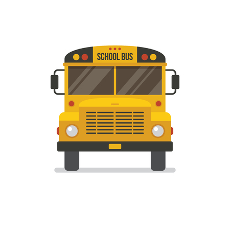 School bus front view flat illustration, icon isolated on white background