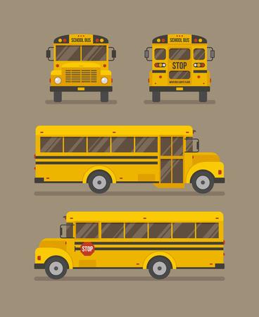 Ilustración plana de autobús escolar. Vista frontal, posterior y lateral.