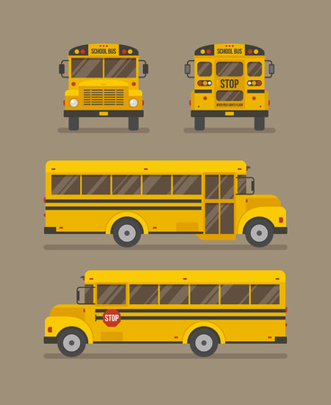 School bus flat illustration. Front, back and two side views. Illustration