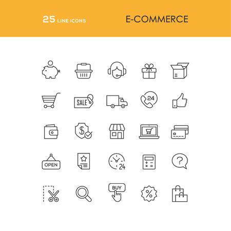 gift basket: E-commerce and online shopping line icons set Illustration