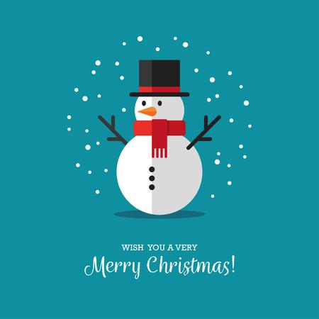 Cute Snowman Illustration In Flat Style Winter Symbol Icon