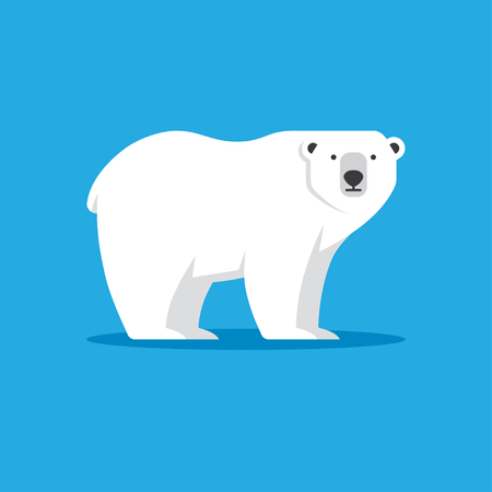 Polar bear icon in flat style.