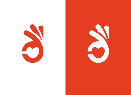 Forma de corazón y signo de mano bien Ilustración de vector