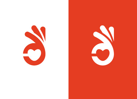Heart shape and ok hand sign Stok Fotoğraf - 89688795