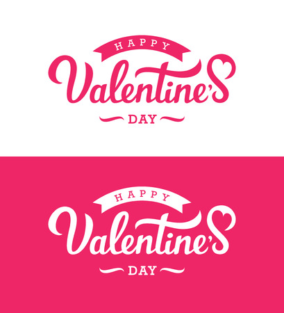 Hand drawn lettering for Valentines Day. Elegant calligraphy for greeting card, banner or invitation design in white and pink colors. 向量圖像