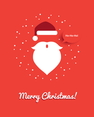 Santa head illustration with red hat, white beard saying ho-ho-ho. Funny creative Christmas greeting card or banner design. 向量圖像