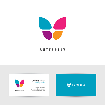 Abstract colorful butterfly icon and business card design template. Digital, technology, multimedia logo modern design concept. 向量圖像