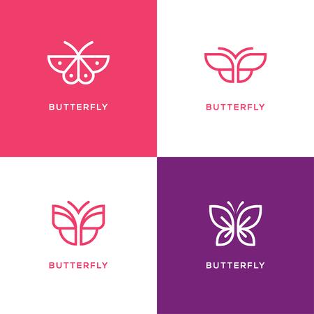 Four mono line butterfly logo set. Beauty salon, spa center, cosmetics design concept.
