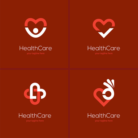 Set of four health care icons with heart shape on red background. Cardiology center, medical clinic abstract logo.