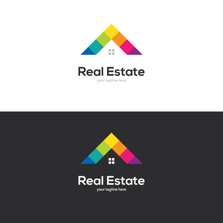 Colorful house roof logo design.