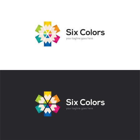 Bright logo with six colorful pencils.