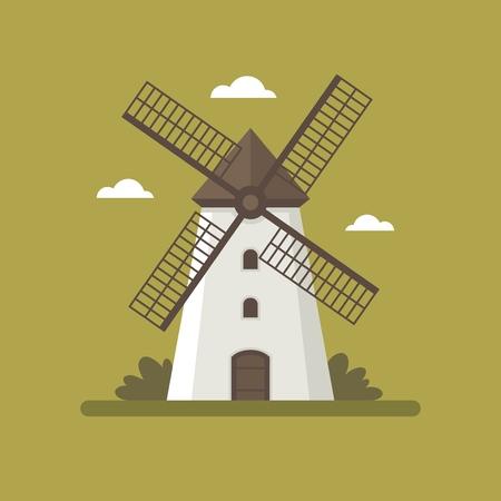 Rural windmill flat illustration.
