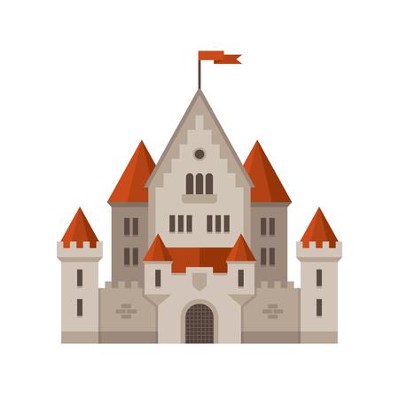 Flat castle illustration. 向量圖像
