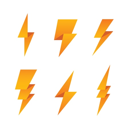Paper lightning bolt icon set.