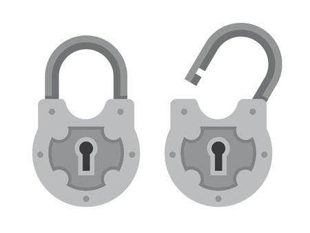 Retro padlock flat illustration.