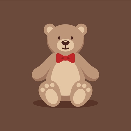 Teddy bear with red bow tie. 向量圖像