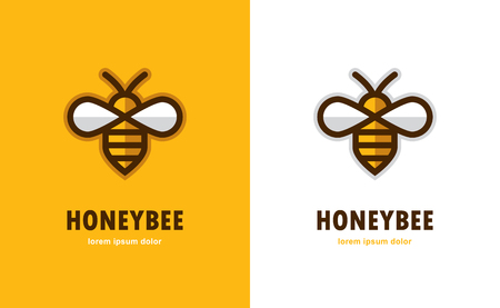 Linear bee icon. 向量圖像