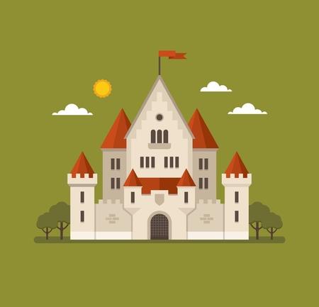 Flat castle illustration on green background.