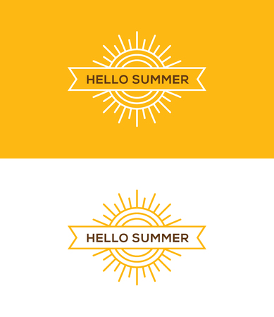 Bright yellow linear summer logo, emblem, label or banner design element, with sun and ribbon.