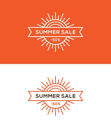 Summer sale banner, label or tag design with linear sun and ribbon on red and white background.