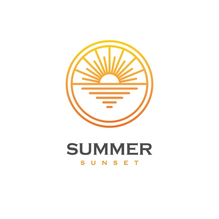 Linear logo with sunset or sunrise on the sea in a shape of circle. Sun and beach emblem. Summer travel tour or resort symbol.