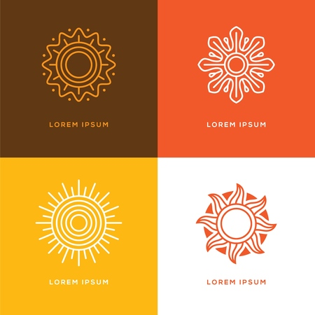 Set of four abstract linear sun logo. Summer travel tour or resort line symbol. 向量圖像