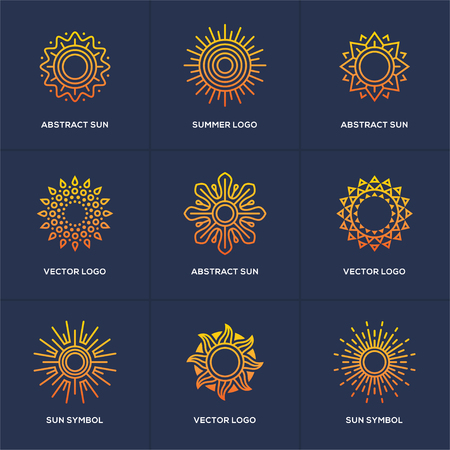 Abstract geometric sun icon set isolated on blue background. Summer vacations, holidays or resort symbol. Travel agency logo in a shape of circle. 向量圖像