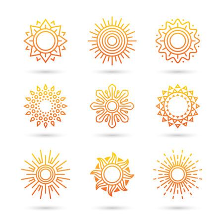 Sun icon set isolated on white background.