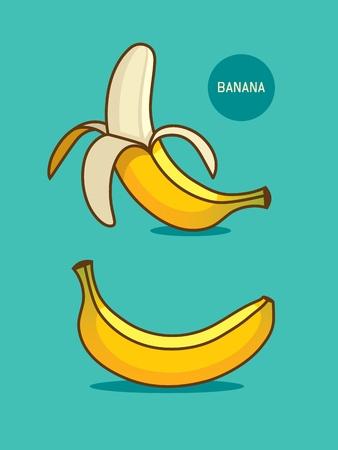 Two bananas illustration. Healthy vegan or vegetarian food symbol. Banana juice, cocktail or desset design ellement. Tropical fruit icon. 向量圖像