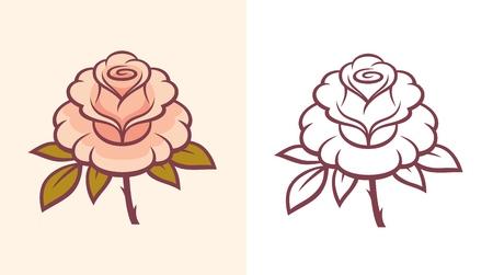 Rose flower illustration for logo or tattoo. 向量圖像