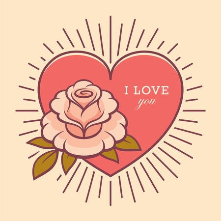 Rose flower illustration in retro style. Love you greeting card design.