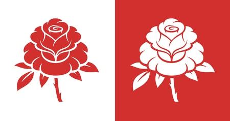 Red rose flower illustration. 向量圖像