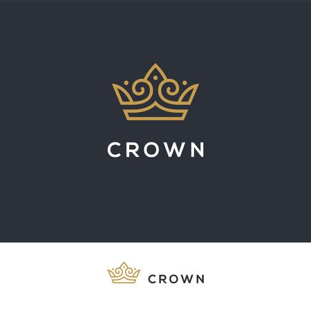 Linear elegant crown logo. 向量圖像