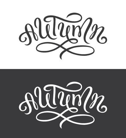 Handwritten brush lettering for autumn card, banner or poster design. Modern calligraphy.